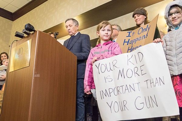 Ohio gubernatorial candidate Dennis Kucinich called on local governments to pressure state lawmakers to pass a ban on semi-automatic rifles such as the AR-15.