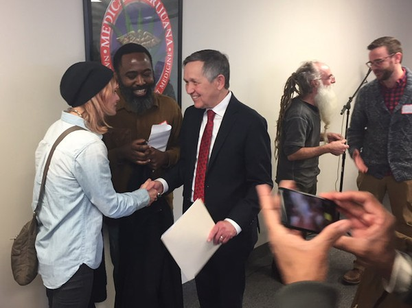 Dennis Kucinich chats with activists following a marijuana policy speech on Wednesday, March 7 at the Cleveland School of Cannabis. (Photo: Andrew J. Tobias, cleveland.com)