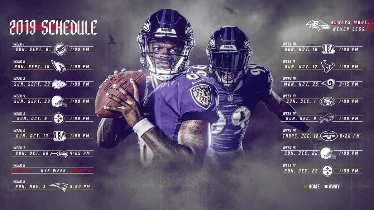 outlet store b5a91 839b7 Ravens Announce Their 2019 Schedule   100.7 The Bay