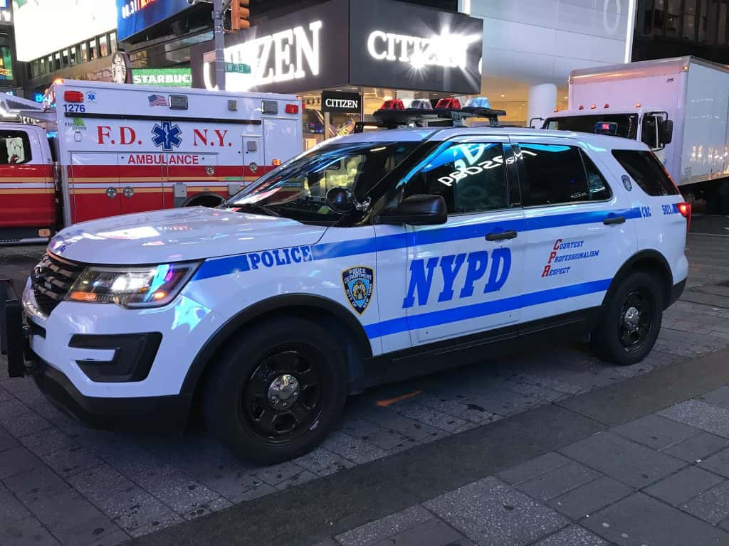 A New York Police Department vehicle