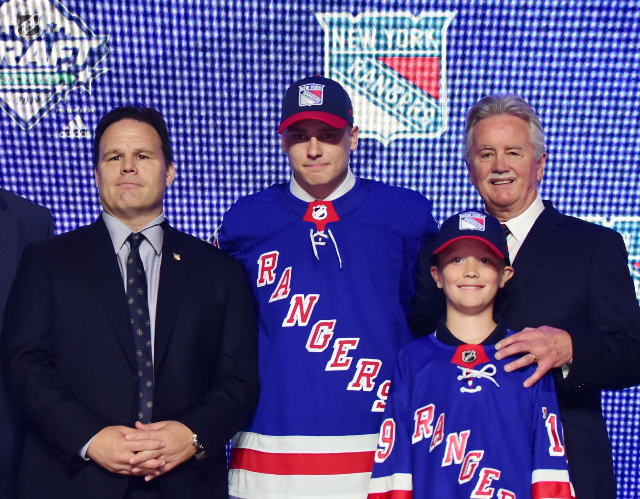Jun 21, 2019; Vancouver, BC, Canada; Kaapo Kakko poses for a photo after being selected as the number two overall pick to the New York Rangers in the first round of the 2019 NHL Draft at Rogers Arena. Mandatory Credit: Anne-Marie Sorvin-USA TODAY Sports