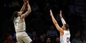 Nov 20, 2019; Brooklyn, NY, USA; Brooklyn Nets forward Taurean Prince (2) shoots while being defended by Charlotte Hornets forward Miles Bridges (0) during the first half at Barclays Center. Mandatory Credit: Andy Marlin-USA TODAY Sports