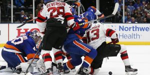 Jan 2, 2020; Brooklyn, New York, USA; New York Islanders goaltender Semyon Varlamov (40) defends his net against the New Jersey Devils during the third period at Barclays Center. Mandatory Credit: Andy Marlin-USA TODAY Sports
