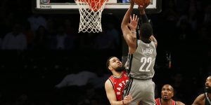 Feb 12, 2020; Brooklyn, New York, USA; Brooklyn Nets guard Caris LeVert (22) shoots over Toronto Raptors guard Fred VanVleet (23) during the first half at Barclays Center. Mandatory Credit: Andy Marlin-USA TODAY Sports