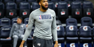 Jan 25, 2020; Minneapolis, Minnesota, USA; Minnesota Timberwolves center Karl-Anthony Towns (32) looks on before the start of a game against the Oklahoma City Thunder at Target Center. Mandatory Credit: David Berding-USA TODAY Sports