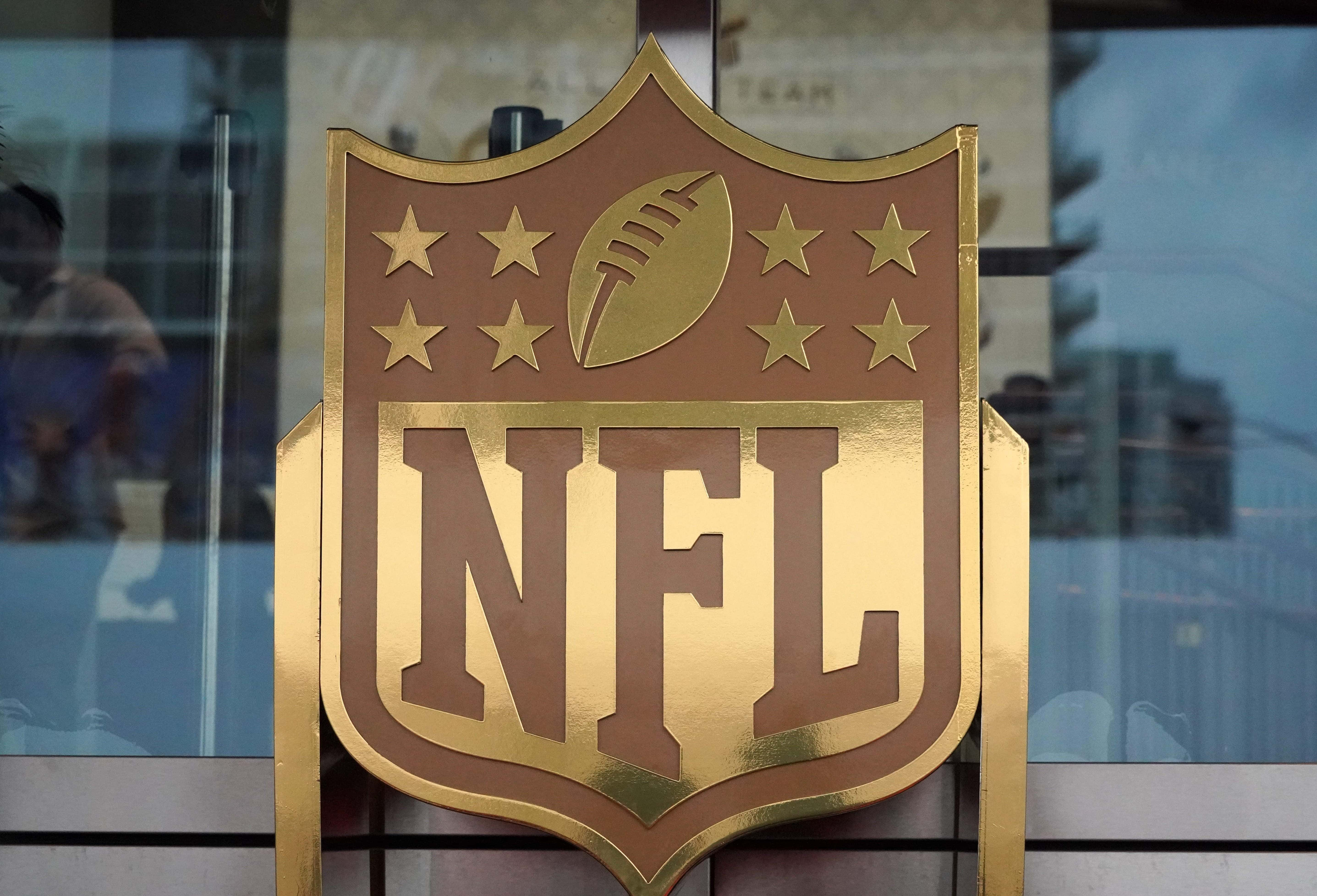 Feb 1, 2020; Miami Gardens, Florida, USA; General overall view of NFL golden shield logo at the NFL Honors show at the Adrienne Arsht Center. Mandatory Credit: Kirby Lee-USA TODAY Sports