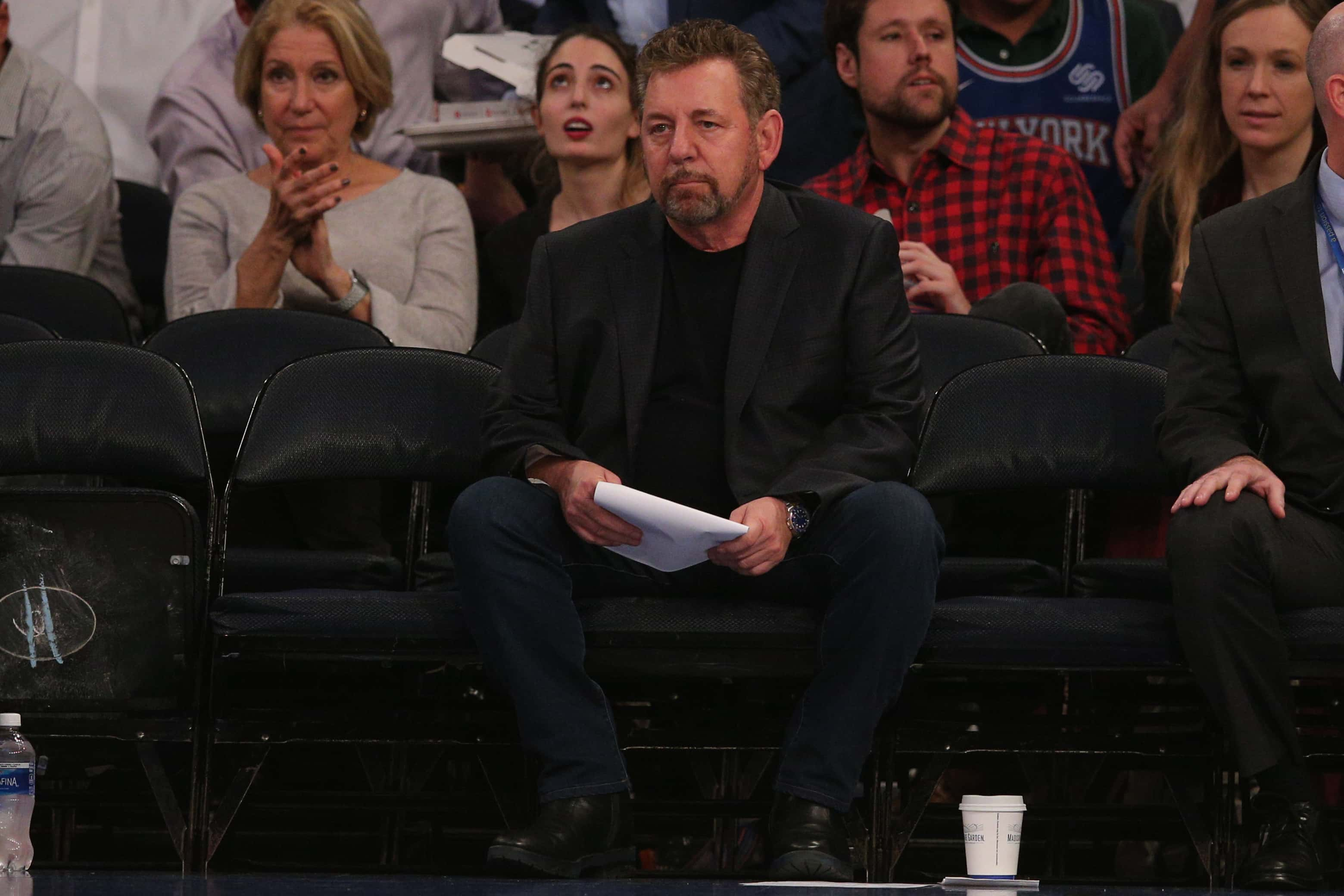 Oct 28, 2019; New York, NY, USA; New York Knicks executive chairman James Dolan watches during the third quarter against the Chicago Bulls at Madison Square Garden. Mandatory Credit: Brad Penner-USA TODAY Sports