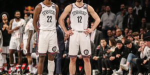 Mar 8, 2020; Brooklyn, New York, USA; Brooklyn Nets guard Caris LaVert (22) and forward Joe Harris (12) at Barclays Center. Mandatory Credit: Wendell Cruz-USA TODAY Sports
