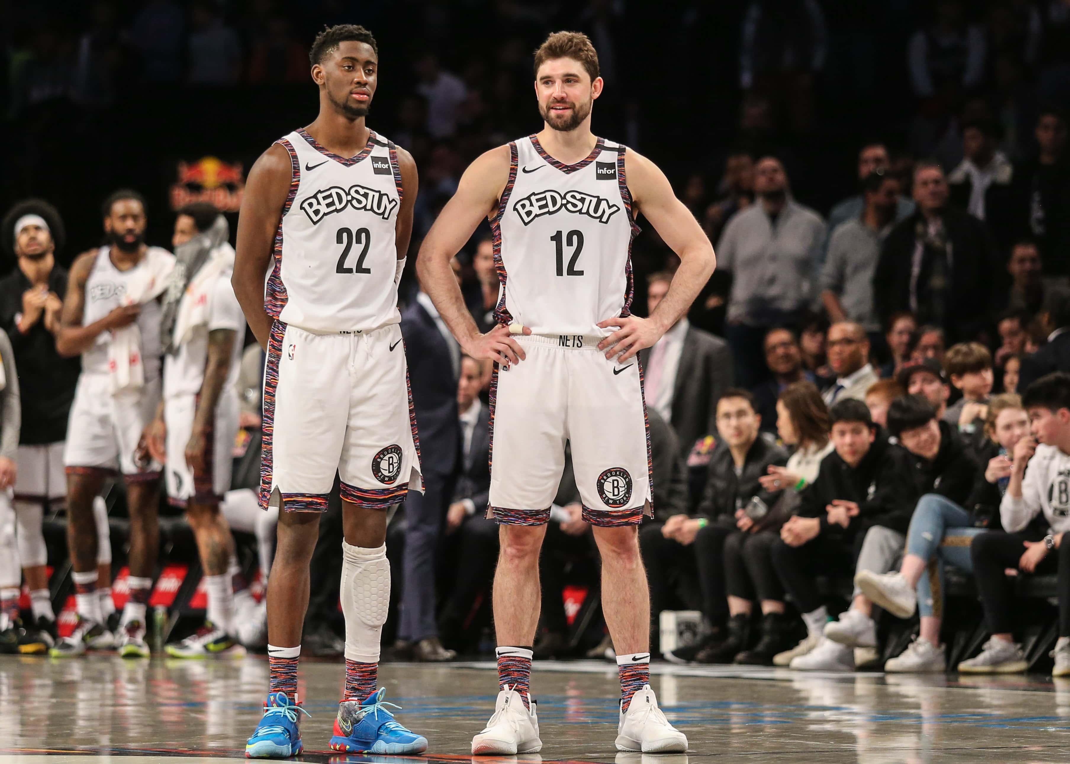 Mar 8, 2020; Brooklyn, New York, USA; Brooklyn Nets guard Caris LaVert (22) and forward Joe Harris (12) at Barclays Center. Mandatory Credit: Wendell Cruz-USA TODAY Sports