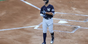 Jul 6, 2020; Bronx, New York, United States; New York Yankees right fielder Aaron Judge (99) at bat during an intersquad game during summer workouts at Yankee Stadium. Mandatory Credit: Vincent Carchietta-USA TODAY Sports