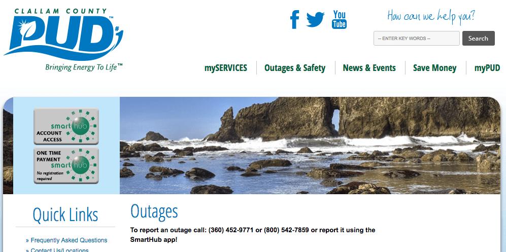 Clallam PUD Power outage map | MyClallamCounty com