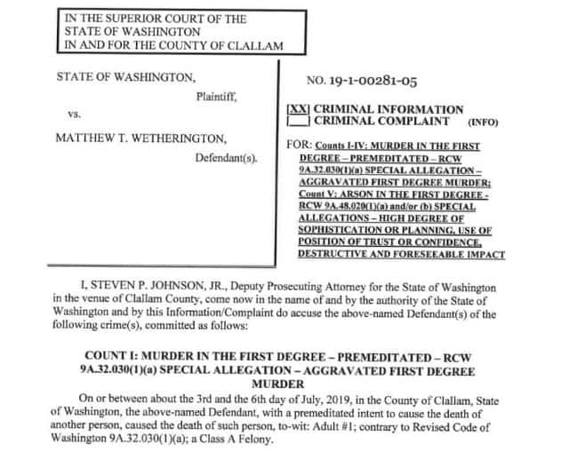 Wetherington officially charged Wednesday with four counts