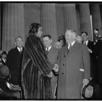 Library Of Congress: Interior Secretary Ickes congratulates Marian Anderson at concert. Washington, D.C., April 9. Secretary of the Interior Harold Ickes, who introduced Marian Anderson at her open-air concert at the shrine of the president who freed her race from slavery, congratulating her after the concert to which an estimated 75,000 listened