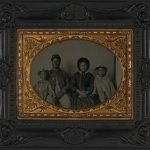 Library of Congress: Unidentified African American soldier in Union uniform with wife and two daughters