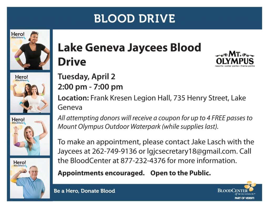 Lake Geneva Jaycees Blood Drive | WLKG 96 1 FM The Lake