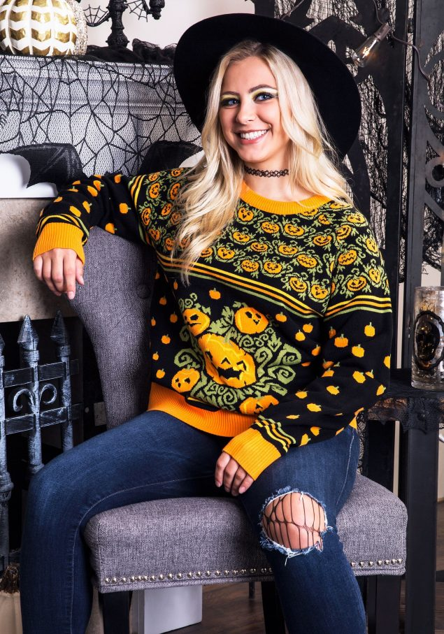 ugly halloween sweater with pumpkins