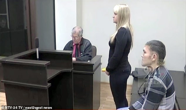 man and woman in court room