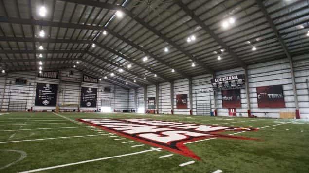 ragin cajuns football leon moncla indoor practice facility