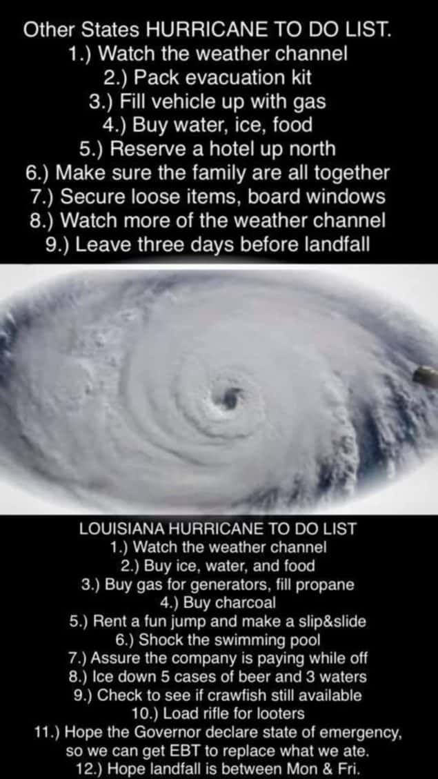 hurricane to do list meme
