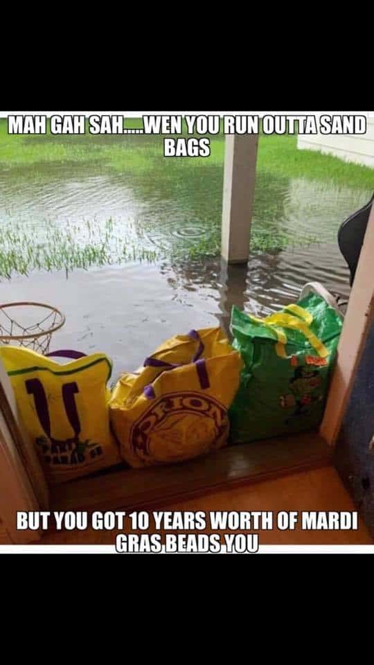 mardi gras beads hurricane barry meme