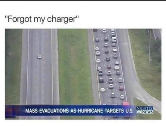 forgot my charger hurricane meme