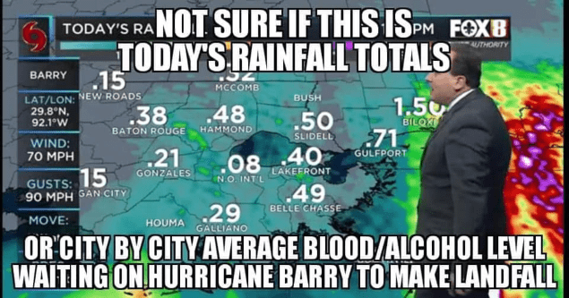 blood alcohol level hurricane barry meme