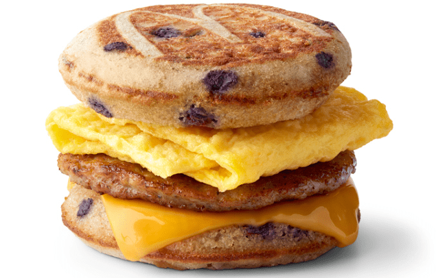 blueberry sausage egg cheese mcgriddle