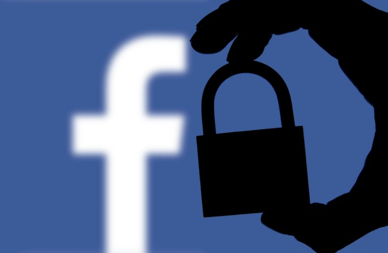 facebook logo with privacy lock in foreground