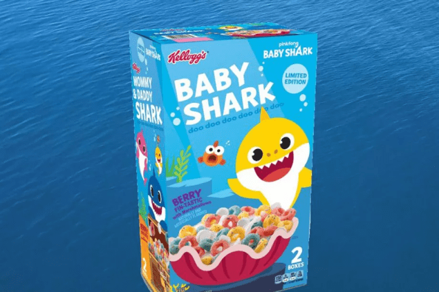 baby shark cereal box over water