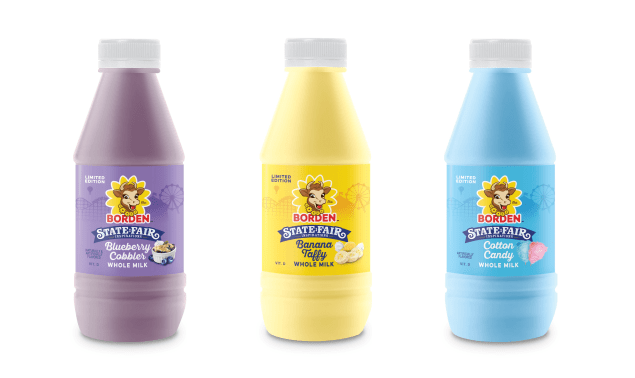 three borden flavored milk pints
