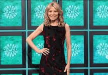 vanna white black and red dress in front of wheel of fortune screen