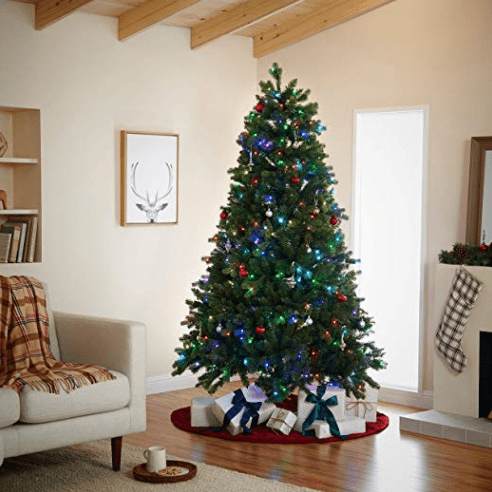 pre lit alexa compatible christmas tree from amazon in living room