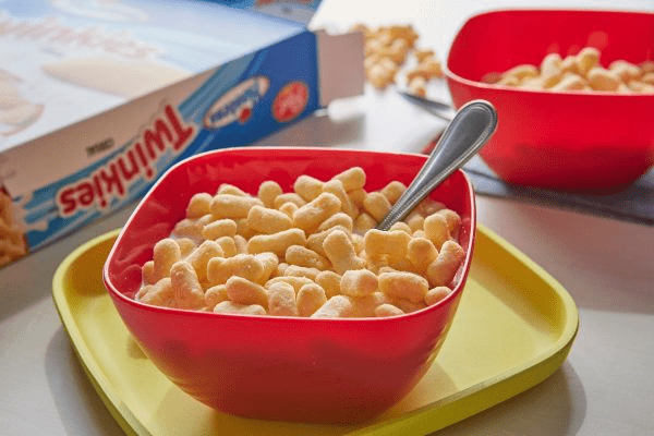 twinkies cereal in red bowl with spoon