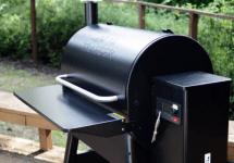 traeger pellet grill outside