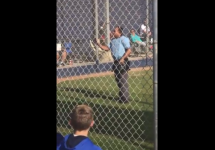 umpire arguing with parents on youth baseball field
