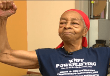 82 year old powerlifting woman willie murphy flexes