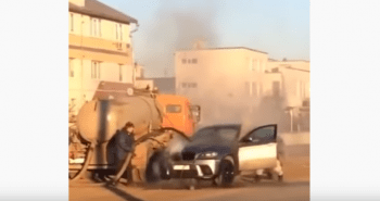 man douses car fire with sewage from septic truck