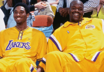 shaq and kobe in yellow lakers sweats