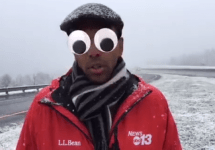 weather guy with googly eyes filter