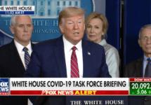 snip white house coronavirus briefing trump at podium