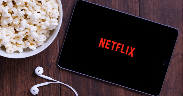 netflix on tablet with popcorn