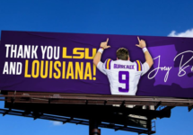joe burrow burreaux thank you lsu louisiana billboard
