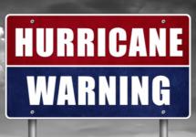 Hurricane warning - road sign