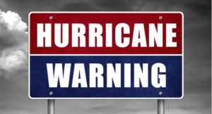 Hurricane warning - road sign